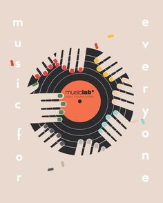"""Advertising Illustrations for the record store """"Music Lab"""" in Advertising"""
