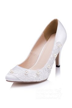 d25fd8bd4510 Stiletto Heel 9cm Heel Satin Imitation Pearl Pointed Toe Bridal Shoes  SWS16040 Cocomelody weddingshoes