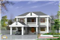 2850 square feet double storey kerala model home design Double Storey House Plans, Double Story House, House Plans One Story, Custom Home Plans, Home Design Plans, Facade Design, Architecture Design, New Housing Developments, House Plans South Africa