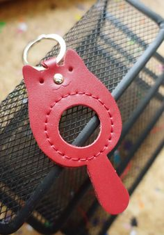 Kawaii Handmade Leather Cat Keychain Animal 2-sided Keyholders Meow Lover Hand…