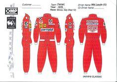 Divisa #F1 del campione #NikiLauda. OMP ha dato grande attenzione ai colori e ai loghi degli sponsor delle tute degli anni in cui è ambientato #Rush.