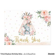 Tribal Elephant Birthday Baby Shower Thank You Postcard Elephant Birthday, Elephant Theme, Lollipop Party, Tribal Elephant, Baby Shower Themes, Shower Ideas, Thank You Postcards, Elephant Baby Showers, 1st Birthday Invitations