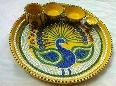 Thali Decoration Ideas, Diwali Decorations, Festival Decorations, Kalash Decoration, Small Rangoli Design, Beautiful Rangoli Designs, Diwali Craft, Diwali Diya, Hobbies And Crafts
