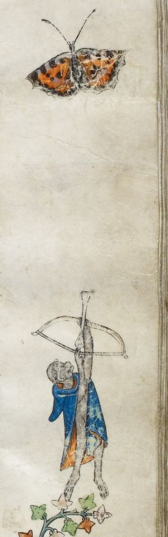 Detail of a marginal miniature of an ape archer aiming at a butterfly above, from the right margin of the folio, from the Estoire del Saint Graal, France (Saint-Omer or Tournai?), 1st quarter of the 14th century: London, British Library, MS Royal 14 E. iii, f. 89r.