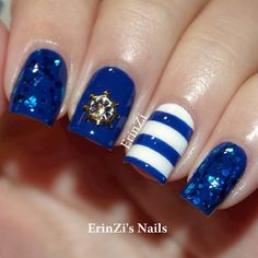 Top Blue Nail Art Designs To Suit Your Blue Costumes – Easyday Blue Nail Designs, Cool Nail Designs, Cute Nails, Pretty Nails, Hair And Nails, My Nails, Gold Nails, Sailor Nails, Royal Blue Nails