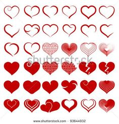Set of symbols heart. Red heart vector. Red heart isolated on white. Red heart symbol. Red hearts. Red hearts Red Hearts vector. Red hearts icon, Hearts. Hearts symbol.  Valentine's Day, Mother's Day. - stock vector