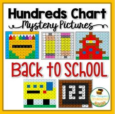 These 5 fun, no prep, printable worksheets are perfect back to school activities to assess students' knowledge of the 100s chart!  Use the key to color in the boxes and reveal a hidden picture!