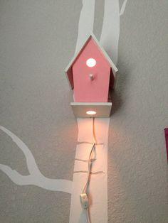 Bird House Night Light, Pink, Baby Girl Nursery, Woodland Nursery