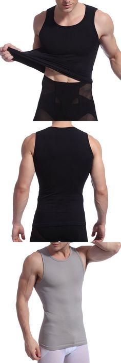 Mens Sexy High Elastic Body Sculpting Waist Tummy Tuck Skinny Fit Sport  Tank Tops Tenues D 29c1f09d62f