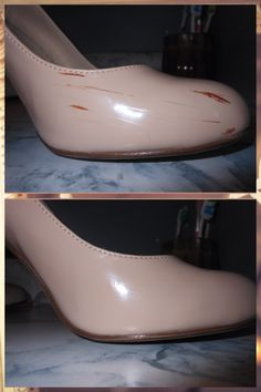 Use nail polish remover to get rid of scuff marks on patent leather shoes! It really does work. No joke.