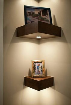 Corner shelving with stick on lights.