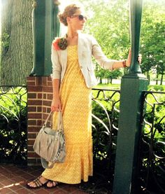 love the maxi dress and blazer with sandals