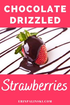Looking for a healthy dessert recipe?  Try these chocolate drizzled strawberries!  This healthy strawberry dessert is so easy and so good. #strawberries #chocolate