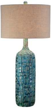 Ceramic Teal with Tan Drum Shade Mid-Century Table Lamp - #EUY4421 - Euro Style Lighting