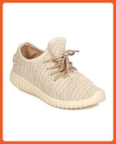 Wild Diva GA00 Women Fabric Knitted Lace Up Jogger Sneaker - Natural (Size: 8.5) - Sneakers for women (*Amazon Partner-Link)