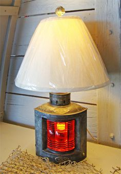 Nautical Table Lamp Made From Port Light, Red Triplex Lens