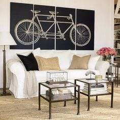 Tandem Bicycle Stretched Canvas