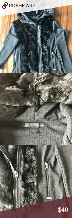 Armani Exchange faux fur sweatshirt How cute is this for fall?!? Darling with jeans or leggings. Dark grey hoodie with faux fur hood and front panels, zip up front and zip pockets. Purrfect (get it?) condition, no signs of wear. Armani Exchange Sweaters