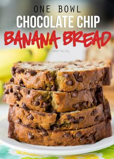 One Bowl Chocolate Chip Banana Bread WOW! This One Bowl Chocolate Chip Banana Bread Recipe is so easy and seriously SO GOOD!<br> This delicious and easy banana bread recipe is mixed up in just one bowl with just the right amount of mini chocolate chips! 13 Desserts, Delicious Desserts, Yummy Food, Easy Banana Desserts, Baking Desserts, Cake Baking, Easy Bread Recipes, Banana Bread Recipes, Recipe For Banana Bread Muffins