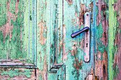 Handle on old wooden door