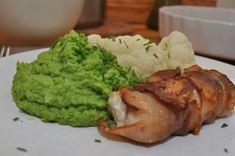 Baconsurret torsk med ertepuré og blomkål