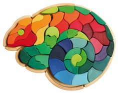 Big Chameleon Creative Wooden Large Figurative Puzzle with 50 Blocks Grimm's Spiel und Holz Design Grimm's Toys, Kids Toys, Grimms Rainbow, Love My Kids, Bear Doll, Mini Games, Montessori Toys, Wooden Puzzles, Scroll Saw