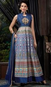 Blue Color Shaded Banglori Silk Printed Gown. #churidargowns #indiandresses2016 Flaunt your gentle elegance dressed in this blue color shaded banglori silk printed gown. The beautiful printed work a significant characteristic of this attire.  USD $ 129 (Around £ 89 & Euro 98)