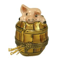 PIGGY IN A BARREL LIMOGES BOX (CHAMART)