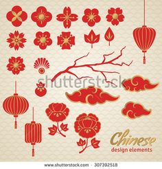 Illustration about Chinese Decorative Icons - Clouds, Flowers and Chinese Lights. Illustration of lattice, golden, cloud - 58462893 Chinese Icon, Chinese Element, Chinese Style, Chinese New Year Flower, Chinese New Year Crafts, Chinese Flowers, Design Chinois, Art Chinois, Chinese Lights