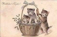 FUN TINY CATS WITH MISTLETOE -VINTAGE