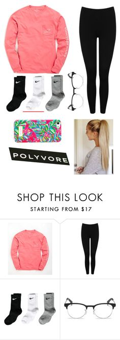 """My Morning OOTD"" by lindsay-mccartney ❤ liked on Polyvore featuring Vineyard Vines, M&Co, NIKE and Ray-Ban"