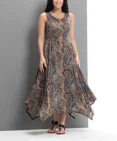 Another great find on #zulily! Brown Paisley Handkerchief Maxi Dress - Plus #zulilyfinds