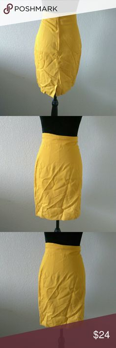 Vintage High Waist Pencil Skirt Lovely and in great vintage used condition, high waist skirt! Yellow mustard in color with back zipper intact. Size 3. Brand is called Cristina. Made in the USA. 50% Polyester, 50% Rayon. Approx measurements are 12.5 inches waist, 16.5 inches hips, and 21 inches length. Vintage Skirts