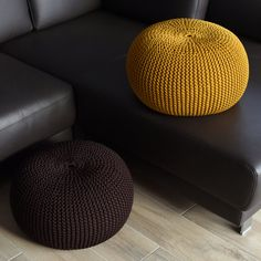 SET OF TWO knitted poufs,living room,home & decor, rope, footstool, bean bag,floor cushion, sitting bag
