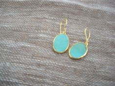 torquoise earrings 14kt gold 1.5 by MarketandTable on Etsy, $80.00