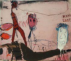 Peter Kohl. Ich sitz auf einem riesen, großen Haufen Scheisse und träum davon,   daß du darunterliegst, 95 x 110 cm, Mischtechnik auf Leinwand, 2010