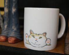 Hand painted animal mug cup - Cute mug cup -Cat mug cup 2