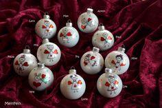 Baumschmuck: Kugeln - Süße Weihnachtskugel aus Glas mit Wunsch-Namen  - ein Designerstück von MeinFein bei DaWanda