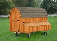 This large by chicken coop is perfect for raising and caring for 12 to 15 chickens. Designed and built by the Amish of Pennsylvania, this hip-roof chicken coop is stained a nice cedar color. Features hefty skids which allows the coop to be p Chicken Coop On Wheels, Chicken Coop Decor, Chicken Coop Designs, Chicken Tractors, Chicken Coops, Chicken Houses, Amish Chicken, Chicken Runs, Backyard Sheds