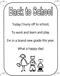 Welcome poem-first day of school | School | Pinterest | Poem ...