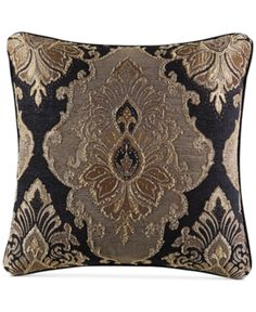 "J Queen New York Bradshaw Black 20"" x 20"" Decorative Pillow - Black"