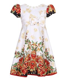 Take a look at this Red & White Floral Dress - Girls today!