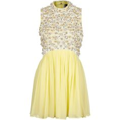 TOPSHOP Floral Embellished Skater Dress (180 CAD) ❤ liked on Polyvore featuring dresses, vestidos, yellow, topshop, topshop dresses, yellow floral dress, high neck dress, short dresses and short skater dress
