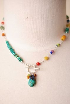 Amar002N Unique handcrafted designer artisan turquoise gemstone sterling silver collage pendant necklace for women
