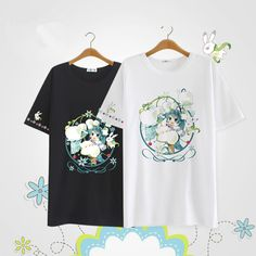 Summer  Hatsune Miku Cotton Short Sleeve Anime Cartoon Japanese Kawaii Clothes Casual T-shirt Tops Tee Lolita Vestidos