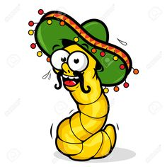 Cartoon Tequila Worm Wearing A Sombrero. Royalty Free Cliparts, Vectors, And Stock Illustration. Image 46750474.