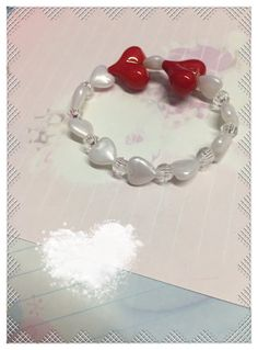 Red and White stretchy bracelet by PinkieDeCreations on Etsy