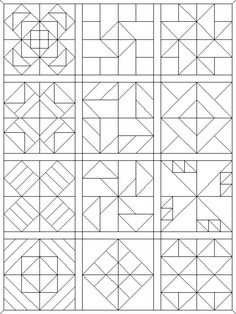 Sew Block Quilt coloring pages quilt blocks 09 Barn Quilt Designs, Barn Quilt Patterns, Modern Quilt Patterns, Wood Patterns, Pattern Blocks, Quilting Designs, Pattern Ideas, Geometric Patterns, Painted Barn Quilts