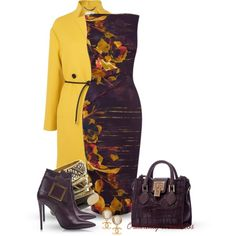 """Plum & Mustard"" by oribeauty-cosmeticos on Polyvore love that dress"