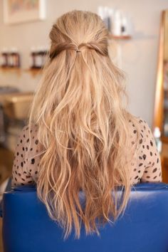 my hair is this blonde and this long and i also have these little waves and a bit messy hair, and i often wear my hair this way! only a picture is always more beautiful than real life, but secretly i'm proud of my hair! :$ you guys should all be!! from every hair you can make something beautiful with the diy's at pinterest